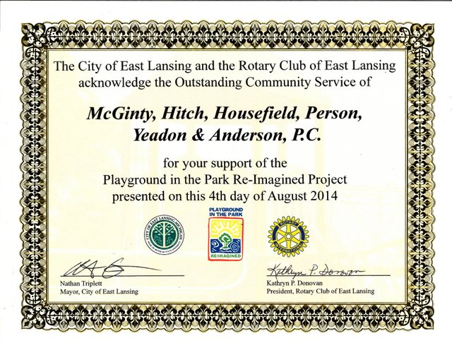 Rotary Club of East Lansing Award to McGinty Law FIrm