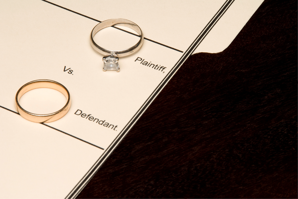 Wedding rings on legal document